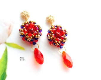 Beadwork jewelry, Red and blue dangle drop earrings, handmade beaded earrings, stud earrings, seed bead earrings, colorful crystal earrings