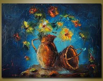 Oil Painting Still Life Art, Kitchen Wall Decor, Abstract Painting, Canvas Painting, Palette Knife, Canvas Wall Art, Original Art Modern Art