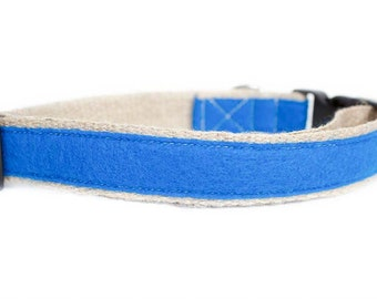 Dog collar / leash FELT BLUE