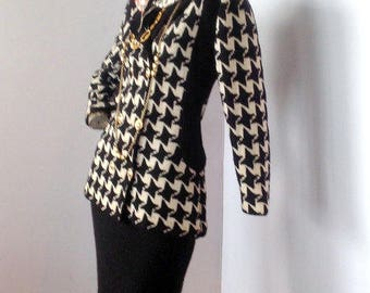 vintage 80s ADOLFO black and white wool knit  skirt suit,NANCY REAGAN favorite sz s
