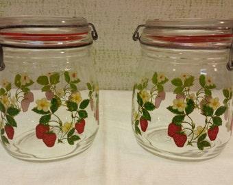 Set of Strawberry Blossom French Canning Jars -  Strawberry French Canning Jars - Jars by ARC France - Retro Kitchen - Kitchen Kitsch