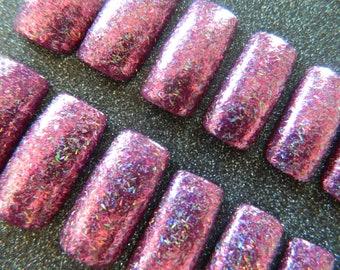 Pink Glitter Long Square False Nails.
