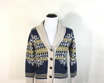 pendleton shawl collar navajo print wool cardigan womens size M