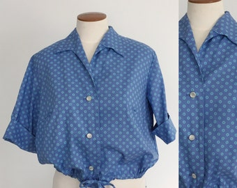 1950s periwinkle blue floral cropped drawstring cotton blouse / 50s blouse / 60s blouse / spring top / extra large XL L