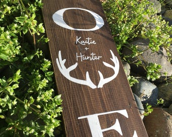 "LOVE • BUCK • Customized with Initials or Names • 5.5""x18"" • Gift Idea"