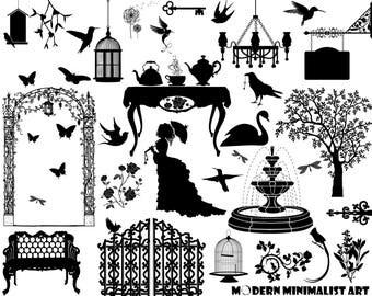 36 PNGS, Garden Party, Garden Clipart, Vintage Garden, Victorian Garden, Clipart, Birds, Garden Tea Party, Rose, Victorian Clipart, Flowers