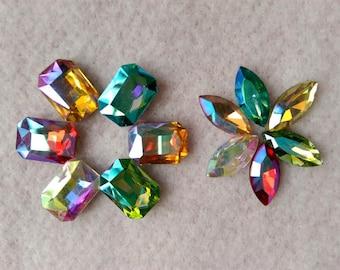 AB series Octagon Navette pointed back glass rhinestone crystal beads gemstones stones