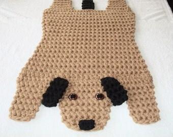 Superior Crocheted Brown And Black Dog Rug, Animal Floor Rug, Puppy Dog Handmade Rug,