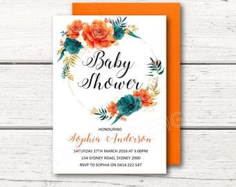 Printable Baby Shower Invitation - Orange & Navy Floral Flowers - Gender Neautral - Boy or Girl - DESIGN 114