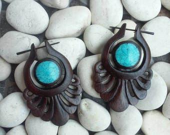 "Post stick earrings, ""Swirl Blossom"", 18g earrings, tribal earrings, hand carved earrings, wooden stick post earrings, fake gauge earrings."
