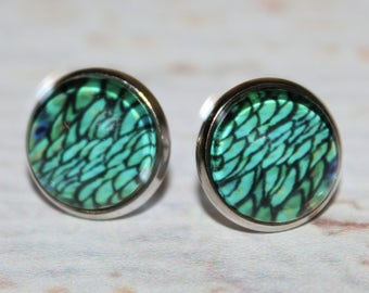 Round Glass Cabochon Stud Earrings 12mm Green Scale Pattern Hypo Allergenic Surgical Steel Nickel Free