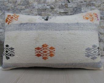 Rare Embroidery Turkish Kilim Pillow Case 12x20 Organic Cotton Tribal Pillow Turkey Pillow Kilim Cushion 12x20 Floor Pillow Throw Pillow