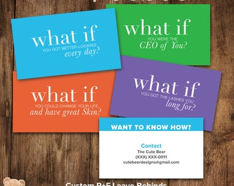 Custom Rodan and Fields / Business Cards / What If / Leave Behinds / Set of Four / 4  / Block Colors / DIY / Digital Designs /  Print ready