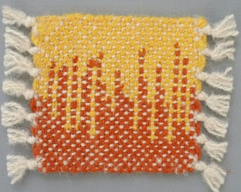 Hand Woven Wool Coasters - Set of 2 - Yellow and Rust