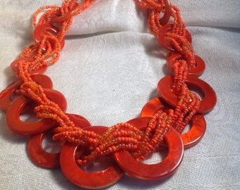 Bright Orange Red Multi Strand Beaded Statement Vintage Necklace 20 Inches
