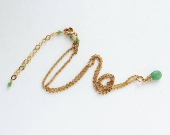 Genuine Emerald and Gold Filled Necklace, Natural Emerald Pendant, Emerald Jewelry, Real Emerald Necklace, May Birthstone