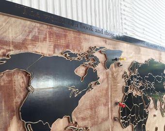 Wooden world map - 3D Wood map - World map - Wooden wall art - 3D wood art - Map-gift for traveler - Wanderlust gift