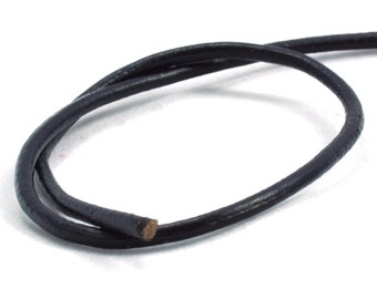 Black, Cowhide Leather Cord.  2.0mm Outside Diameter (Qty 5000mm)