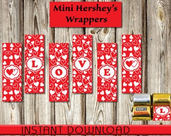 Valentine, Mini Hershey's Nuggets Wrappers, Chocolate, Instant Download, DIY-Party Favors, Red White Hearts