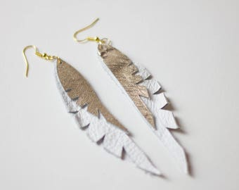 Leather Feather Earrings White + Gold