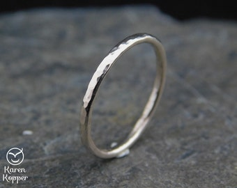 14k White Gold filled hammered ring, thin ring,  1.6 mm ring, made at your size. Skinny ring, thin ring, stacking ring.