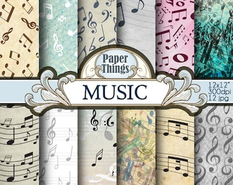 Music Digital Paper Clipart Vintage Background, Musical Note Pattern 12 Pack Old Music Papers Instant Download Music Paper A17