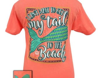 "GirlieGirlOrginal ""Get my tail to the beach"" Mermaid Tee"