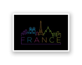 France Skyline Line Art Poster