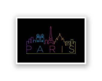 Paris Skyline Line Art Poster