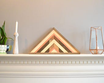 Triangle wood art, decor, lath, brown/copper/gray, pine, cedar, 24in hypotenuse