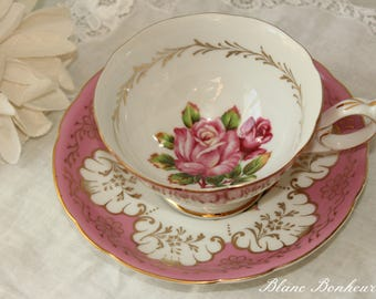 Shafford, Japan: Pink tea cup and saucer, with large pink rose