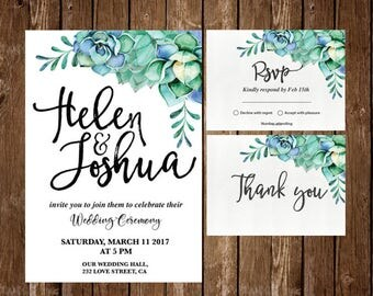 Succulent wedding invitation, Floral Wedding Invitation, succulent weddingPrintable Wedding Invitation, floral invitation watercolor wedding