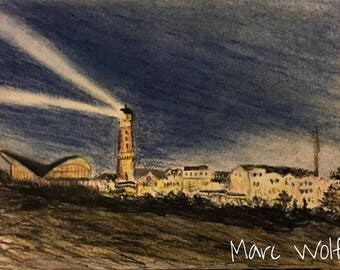 Warnemünde bei Nacht, Pastellmalerei
