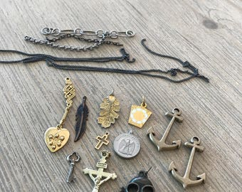 Bulk lot of miscellaneous charms-anchor chsrm-cross charm-feather-key-heart-DIY jewelry supplies