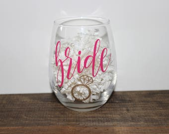 bride wine glass, bridal party, wedding, wedding gift, gift for the bride