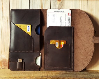 Leather Monogramed Travel Wallet, Passport wallet, Personalized, Travel Passport Holder, Document organizer, Boarding pass holder, Brown