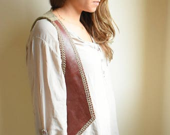 vest,handmade,real leather,knitting,
