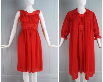 Vintage Womens Shadowline Red Two Piece Gown and Robe Lingerie Set | Size XS/S