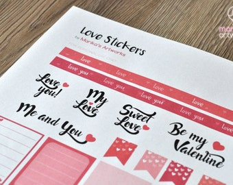 LOVE STICKERS | Printable | A4 size | INSTANT Download | San Valentine