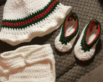 White baby gucci loyal alike hat diaper cover and shoes