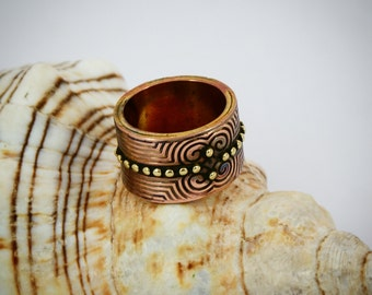 Ethnic ring Copper ring Engraving ring Unisex ring Unique ring ring Copper jewelry Gihts for him  Gihts for her Boho copper ring Mens ring