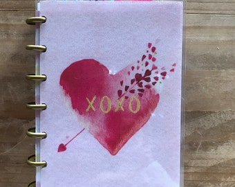 Valentines happy planner covers. Mini happy planner. Planner supplies. Planner accessories. Inserts. Pink hearts. Dashboard. Dividers.