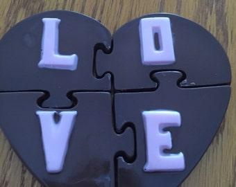 Valentines chocolate puzzle heart
