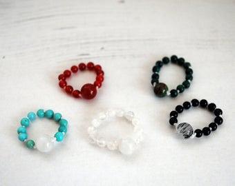 Gemstone Bead Ring, Larimar Moonstone ring, Black Tourmaline Black Onyx ring, Carnelian ring, Moonstone ring, Multistone ring, Cornwall UK