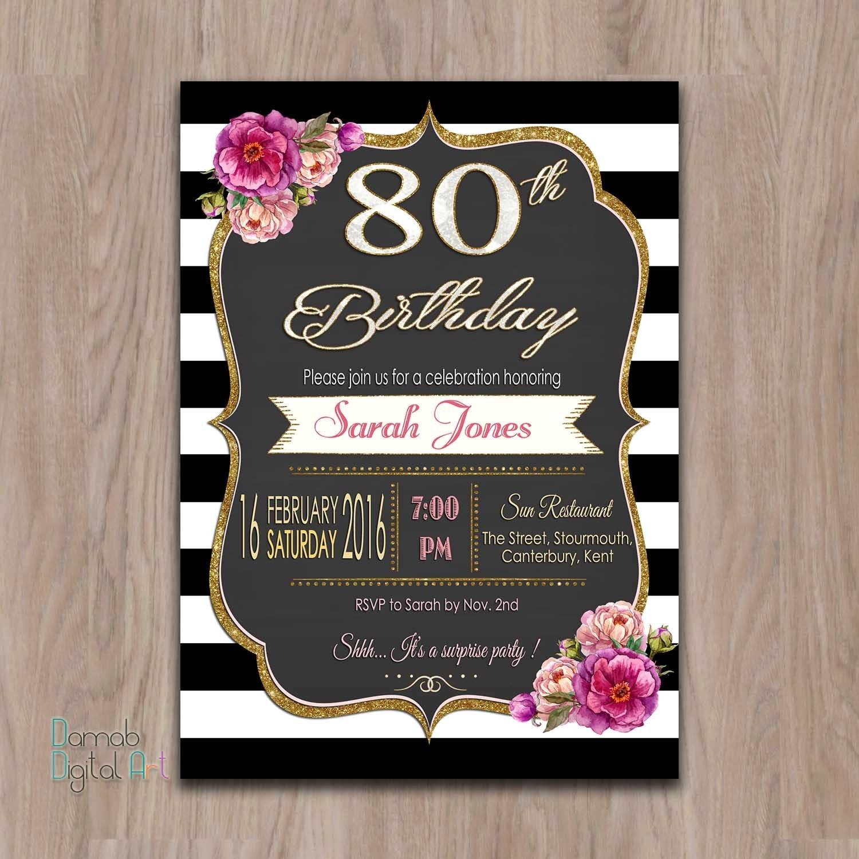 invitaciones de cumpleaños 80 años 80 invitaciones de fiesta