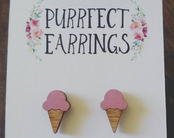 Hand painted pink bamboo ice cream cone earrings