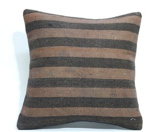 Turkish Striped Kilim Pillow 16x16 Decorative Kilim Pillow Throw Kilim Pillow Handwoven Kilim Pillow Cushion Cover SP4040 1531