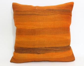 Orange Kilim Pillow 24x24 Turkish Kilim Pillow Anatolia Kilim Pillow Decorative Kilim Pillow One Colour Orange Kilim Pillow SP6060-637
