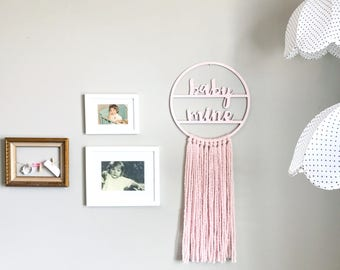 Baby Mine Hoop / Wall Hanging / Wall Weaving / Tapestry / Blush Wall Hanging / Nursery Decor