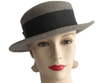 Vintage Gray Wool Felt Derby Hat with Wide Charcoal Ribbon Band